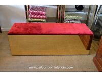 1970s MIRRORED VELVET BENCH / WINDOW SEAT