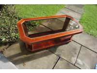Retro wooden & glass coffee table