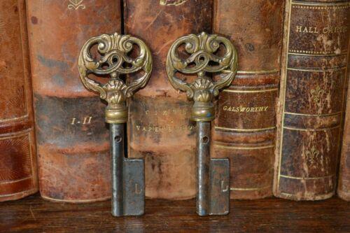 One Antique Large French Key Ornate Bronze Blank Uncut French Key Shop