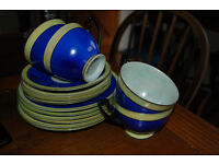 Vintage authentic PALT 4 teacups, saucers and plates in blue