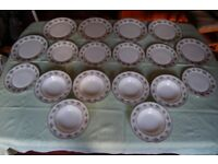 Royal Doulton Valleygreen Bone China Plates, Cups and Sauceboat, 40 pcs in Beautiful Condition.