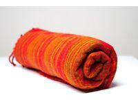 Yak wool blanket/shawl ORANGE