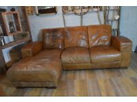 Vintage Distressed Leather Corner Sofa Couch Tan