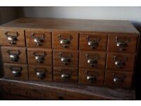 vintage chest of library drawers/collectors chest/wine rack oak/brass