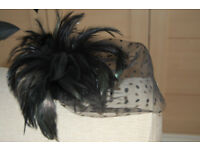 Ladies Black Fascinator Ideal for Wedding x 2
