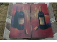 two matching red wine pictures