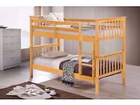 BUY WITH CONFIDENCE-- NEW WHITE AND PINE WOODEN BUNK BED -- CONVERTIBLE AS TWO SINGLE--MATTRESS