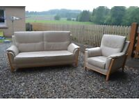 Recor Leather 3 seat settee and armchair.