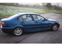Blue BMW 320D SE 2001(X) E46 with leather interior, MOT July 2017