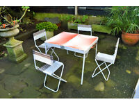 Vintage Folding Gimi Italian Made Camping Table and Chairs