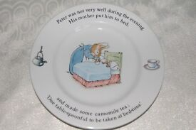 Peter Rabbit Tea Plate, Cereal/Pudding Bowl & Mug by Wedgwood, Very Good Condition