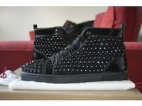 (Genuine The Real Deal With Receipt) Christian Louboutin Super Stage Black Lucido Veau Velours.