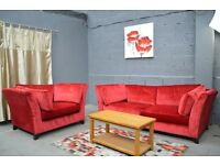 EX DISPLAY RED 3 SEATER AND LARGE ARMCHAIR BED SOFA BED WE DELIVER