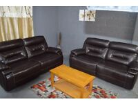 EX DISPLAY SCS ENDURANCE 3+3 SET MANUAL AND ELECTRIC RECLINER SET SOFAS WINE OR BROWN