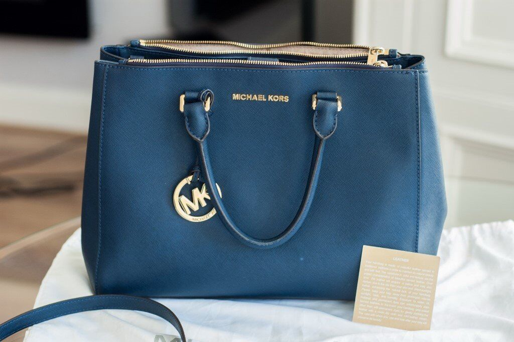 Original Michael Kors Mk Bag Blue Sutton Satchel Leather