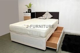 "BRAND NEW 4ft OR 4ft6 DOUBLE DIVAN WITH LUXURY ORTHOPAEDIC 10"" MATTRESS! SUPER DEAL !"