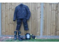 Motorbike clothing. Jacket (L), Trousers(L), Helmet(L), Boots(46), Gloves(M).