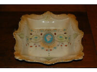 Vintage Athene Border W.Adams floral bowl 612418 Tunstable cameo in centre