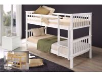 🔵⚫STRONG WHITE WOOD🔵⚫BRAND SINGLE WHITE WOODEN BUNK BED BRAND NEW WITH MATTRESSES AVAILABLE