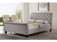 **get on your door**BRAND NEW CRUSHED VELVET CHESTERFIELD SLEIGH BED IN DOUBLE / KING SIZE