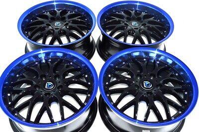 4 New DDR R19 17x7.5 5x114.3 38mm Black/Blue Lip Wheels Rims Ford Escape Rims