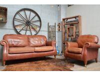 Parker Knoll Vintage Leather Sofa & Armchair Tan Castor Legs