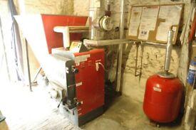 46W Tatano Kalorina 2204 Biomass Boiler, Flue, Hopper, Expansion Tank and 1500 l Cordivari Buffer