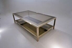 Gold plated coffee table with shelf, 23 Karat by Belgo Chrome, 1980`s ca, Belgian