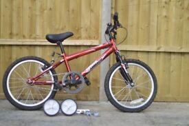 "Ammanco Blast: 18"" wheels + stabilisers - a great learners bike"
