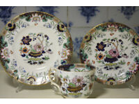 Antique Gilded Trio Diamond Mark 1848 G F Bowers Victorian Pottery China for sale  Gloucester Road, Bristol