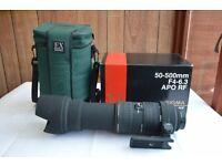Nikon fit Sigma 50-500mm F4-6.3 APO RF lens Thatcham, Berkshire