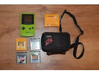 Gameboy Colour (lime) + 4 Games. Pokemon (yellow), Tomb Raider, Jungle Book and 101 Dalmatians