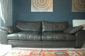 Brown Leather Sofa With Pouffe (And Leather Care Kit) Good Condition. £150 ONO!