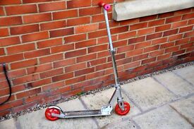 JD Bug Classic 2 Silver kids scooter with red padded hand grips & rear foot brake