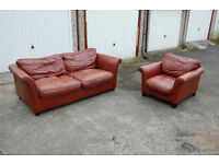 Leather suites: 3 seater sofa bed an armchair