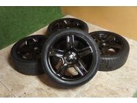 "4x Genuine Peugeot 17"" Challenger 4x108 Peugeot 307 307cc black alloys citroen"