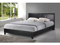 Leather Gaslift Double Bed + Double Memory Foam Mattress (USED)