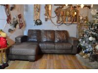 DFS Distressed Leather Corner Sofa Couch Dark Brown