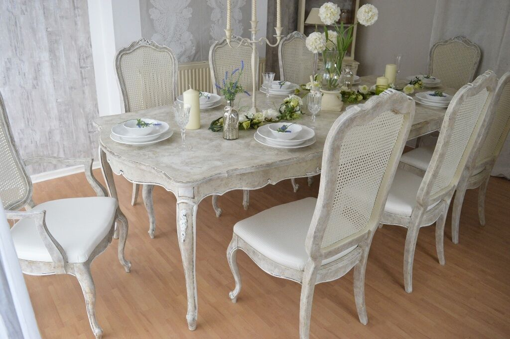 french antique shabby chic unique dining table with eight chairs in portslade east. Black Bedroom Furniture Sets. Home Design Ideas