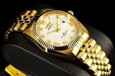 New Invicta Mens Speciality 18K Gold Plated 35Mm White Dial Bracelet Watch 9333