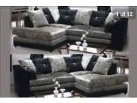 BELLA CRUSHED VELVET CORNER SOFA IN BLK/SLV ONLY £279.99 FREE DELIVERY