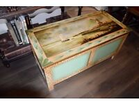 Antique Storage Chest trunk with lovely original oil painting to lid and floral motif