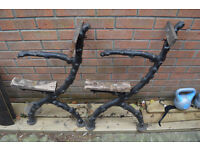 Vintage cast iron bench ends