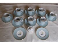 Royal Worcester 'Woodland' Bone China Coffee Cups, Set of 8 with Lidded Bowl, all in VG Condition.