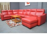 EX DISPLAY (F-V)PALOMA 7 PIECE RED ELECTRIC RECLINER REAL LEATHER SOFA CHAISE