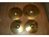 "Paiste 101 14""hi-hats 16""crash 20""ride cymbals."