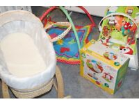 Baby moses basket, playmat, bath seat, bath, ELC goose pillow