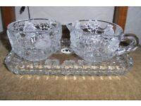 CUT GLASS TRAY, MILK JUG & SUGAR BOWL. ETCHED