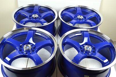 4 New DDR Fuzion 17x7.5 5x100/114.3 38mm Blue/Polished Lip Wheels Rims