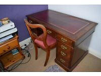 Leather topped antique writing desk and chair